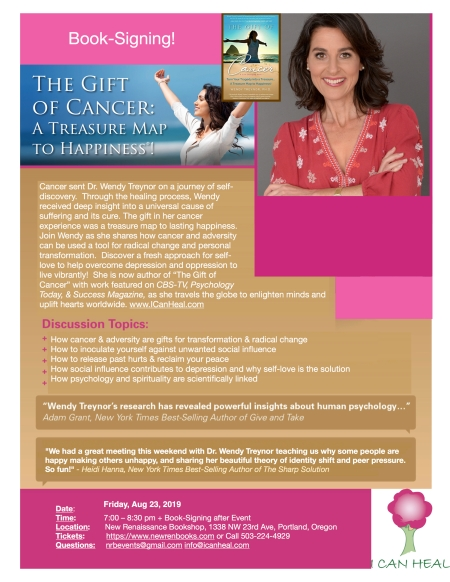 2019.08.23. LOVE New Ren Flyer for Gift of Cancer with Dr. Wendy Treynor